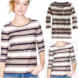 J. Crew Reverse Jacquard Multi Striped Popover Top